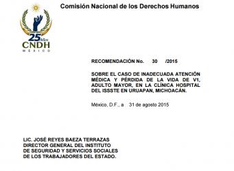 Dictamina CNDH que ISSSTE Uruapan dejó morir a anciano