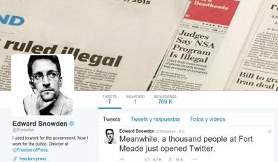 Snowden abre cuenta de Twitter