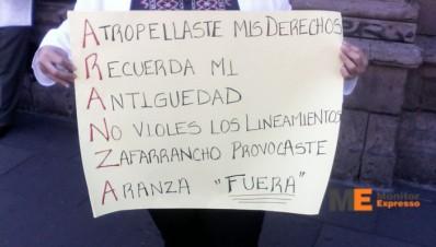 Protesta SUTOPDSSM contra Secretario de Salud de Michoaćan
