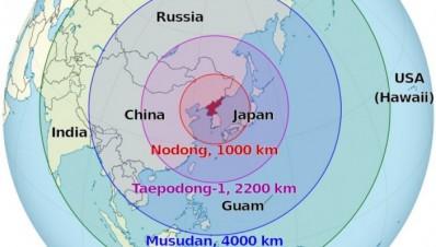 Rangos máximos de los misiles balísticos construídos o en pruebas de Corea del Norte - Fuente: Wikipedia.