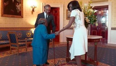 Mujer de 106 años baila de alegría al conocer a Obama