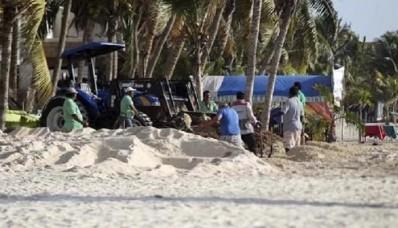 Cancún, retiran basura