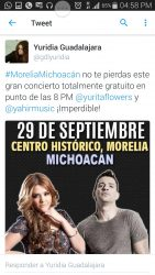 Presentacion de Yuridia en Morelia