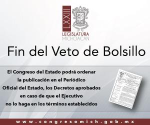 Congreso Michoacán Fin del Veto de Bolsillo