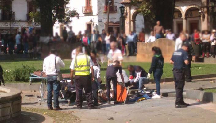 Dos menores, entre los afectados por explosión en Pátzcuaro