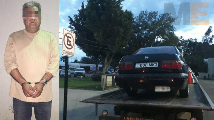 Guardia de seguridad privada es detenido con un auto robado en Morelia Michoacán