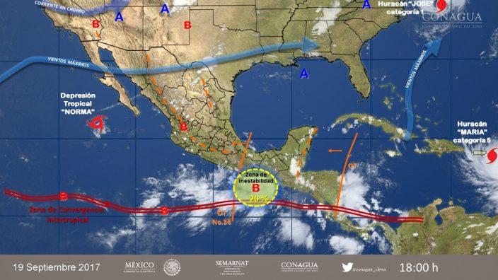 Se registran lluvias ante potencial ciclónico frente a las costas de Colima