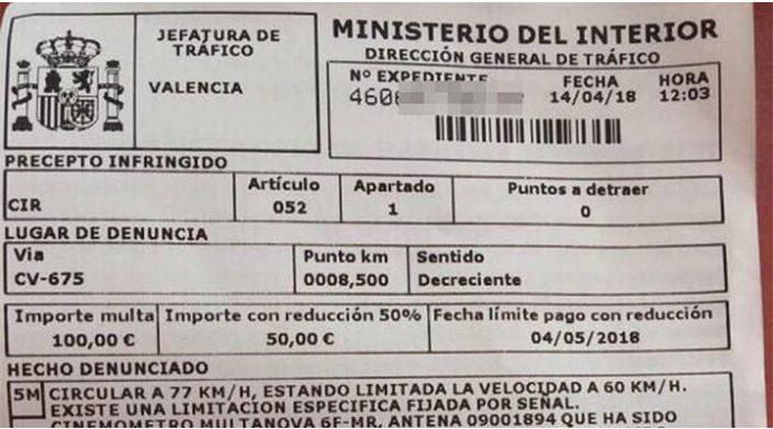 Multan a ciclista por exceso de velocidad en España