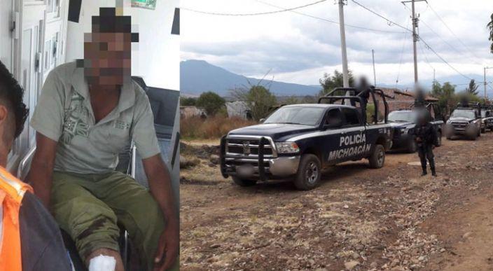 Policías y gatilleros se enfrentan a tiros en Apatzingán, un peatón resulta herido