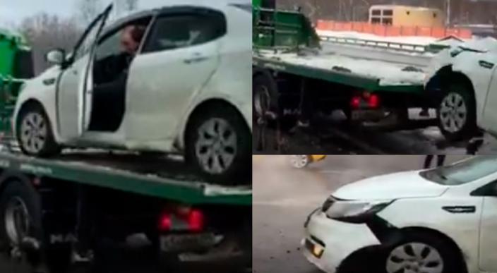 Taxista destroza su automóvil para evitar pagar una multa en Rusia