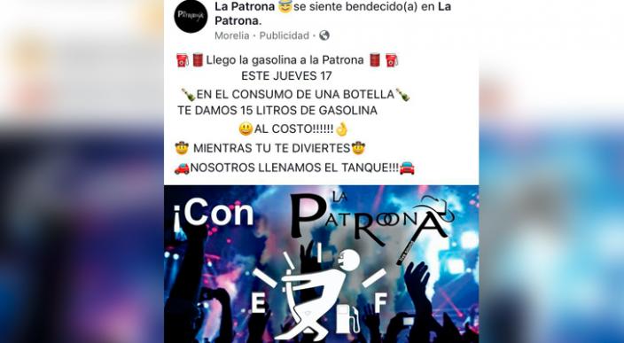 Oferta bar de Morelia gasolina a cambio de comprar una botella