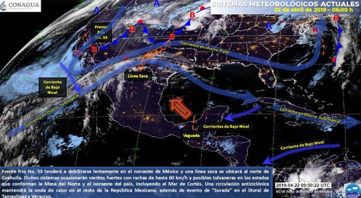 Continúa onda de calor sobre la mayor parte de México