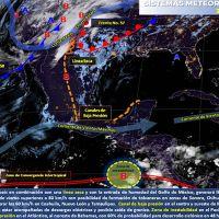 Tormentas fuertes en el sureste de México, lluvias aisladas en el centro del país