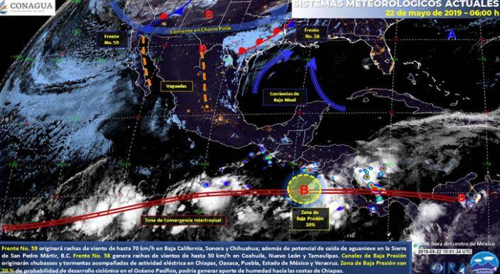 Chubascos y vientos fuertes en el norte, tormentas en el oriente, centro y sureste de México, ambiente caluroso en gran parte del país