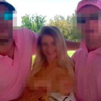Causa indignación en redes sociales la aparición de una mujer desnuda junto a jugadores de golf
