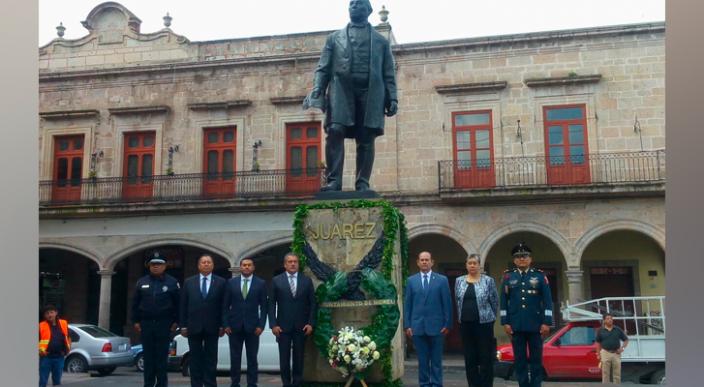 Conmemora Ayuntamiento de Morelia el CXLVII aniversario luctuoso de Benito Juárez