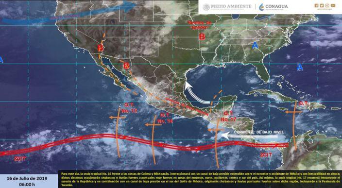 Lluvias muy fuertes en el norte, occidente y sur de México