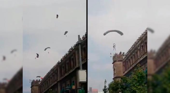 Captan el momento en que paracaidista se accidenta en el Zócalo (Video)