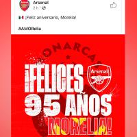 Equipo Arsenal felicita a Monarcas, Morelia por 95 años; ellos responden que no es su aniversario