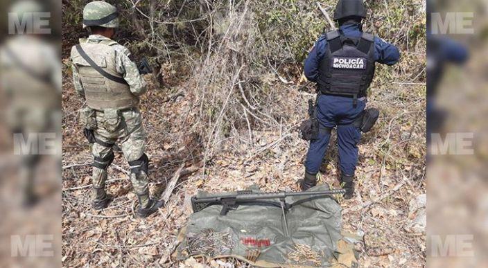 SSP y Sedena aseguran más de 200 cartuchos y un arma de fuego, en Huetamo