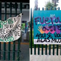 Amanecen pintas de protesta en contra de la violencia y acoso a mujeres en la UMSNH