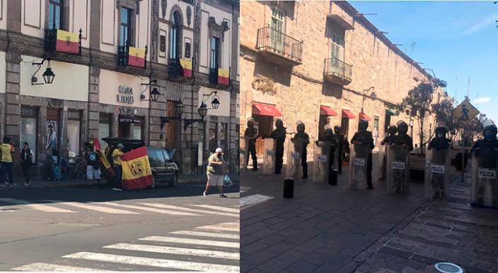 Policía resguarda Palacio de Gobierno ante manifestación de aficionados del Monarcas