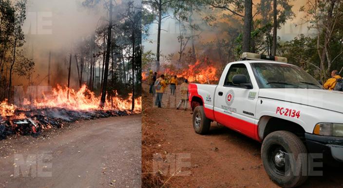 Continúa combate a incendio en la reserva ecológica de Uruapan
