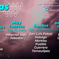 """Lluvias en el sureste de México y la Península de Yucatán, por la depresión tropical """"Cristóbal"""""""