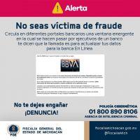 Advierte Fiscalía de Michoacán, intento de fraude en portales bancarios