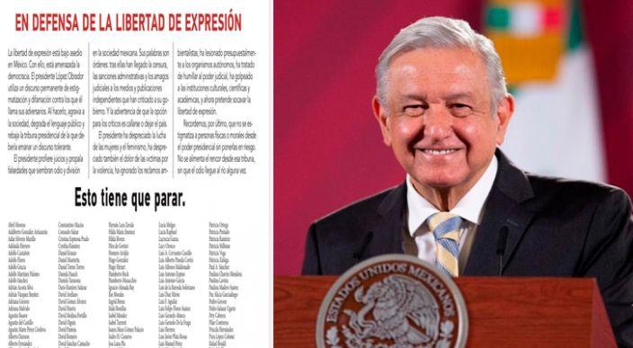 650 intelectuales exigen a López Obrador que pare el acoso a la libertad de expresión