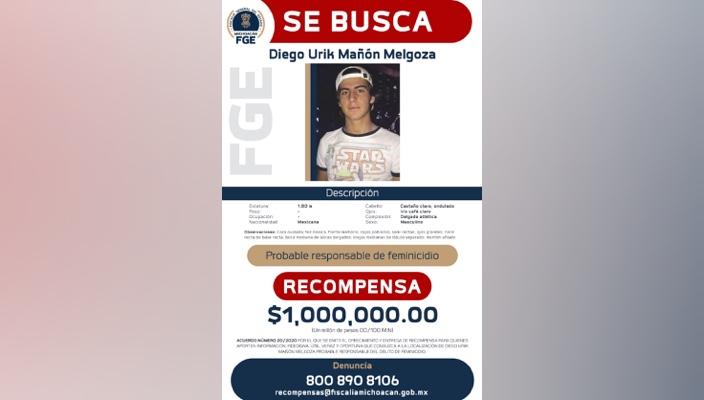 Emite Fiscalía General del Estado ficha de búsqueda y recompensa por Diego Urik