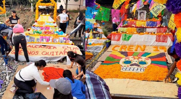Normalistas y magisteriales montan altares en vías férreas de Caltzontzin