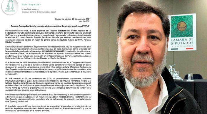 EL TEPJF confirmó que Fernández Noroña cometió violencia política a diputada panista, este se niega a disculparse