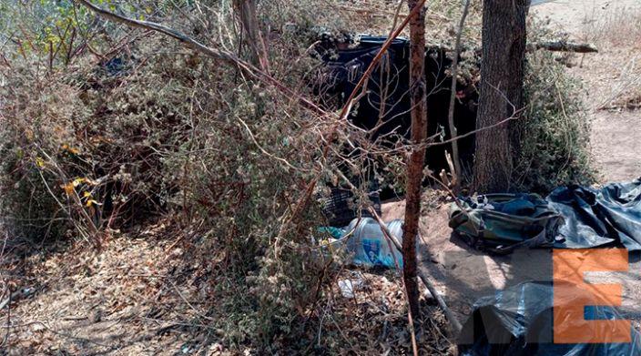 Destruyen SSP y GN dos campamentos relacionados en acciones ilícitas, en Chinicuila