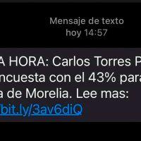 Se declara ganador de encuesta a alcaldía de Morelia Carlos Torres Piña por mensaje de texto