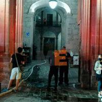 Se registra incendio en Palacio de Gobierno en Michoacán