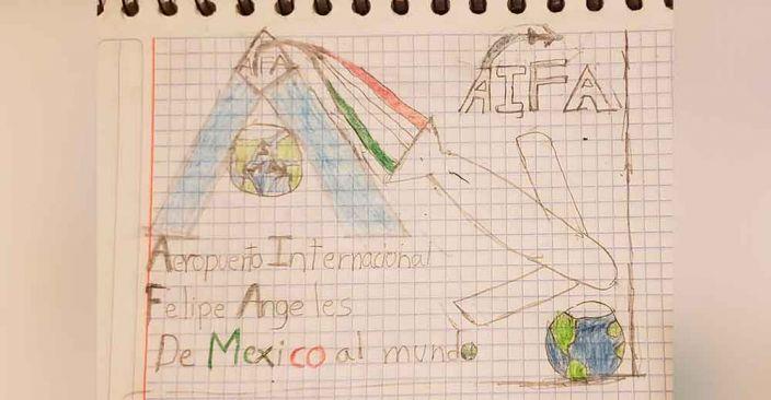Niño de 10 años recibió un premio especial por ingenioso logo del Aeropuerto Internacional Felipe Ángeles (AIFA).