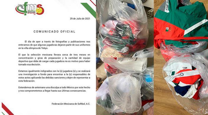 Federación Mexicana de Softbol castigará a jugadoras que tiraron el uniforme a la basura