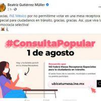 Beatriz Gutiérrez denunció que no la dejaron votar a falta de casillas especiales