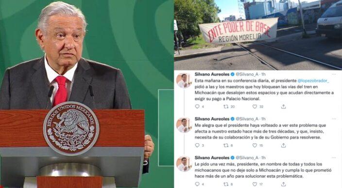 Silvano Aureoles Conejo insiste a AMLO solucione conflicto magisterial